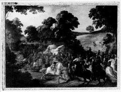 Ruitergevecht in een heuvelig landschap