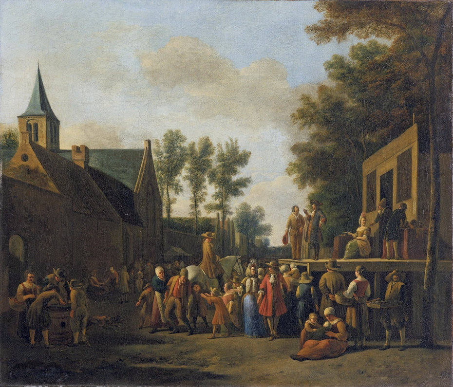 Scene in a Town with a Stage