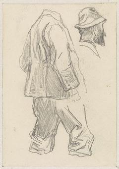 Schets van een staande man, het hoofd apart getekend