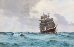 Seascape with a Danish bark on the open sea and sailing ships and a steamer in the background