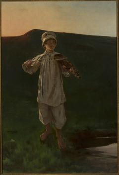 Shepherd boy playing the fiddle