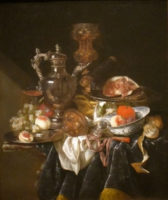 Silver Wine Jug, Ham, and Fruit
