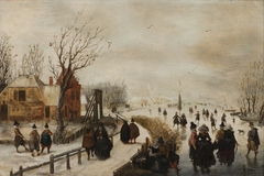 Skaters on a Canal with a Pathway alongside