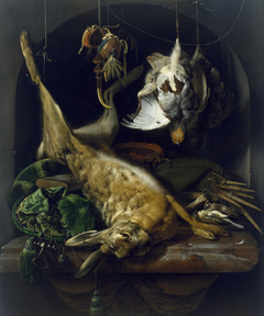 Still Life of a Dead Hare, Partridges, and Other Birds in a Niche