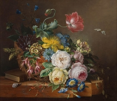 Still Life of Flowers in a Wicker Basket