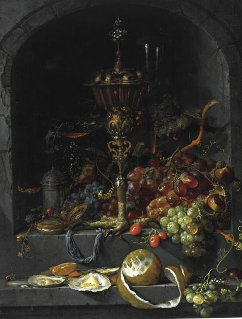 Still life of fruit and a chalice in a niche