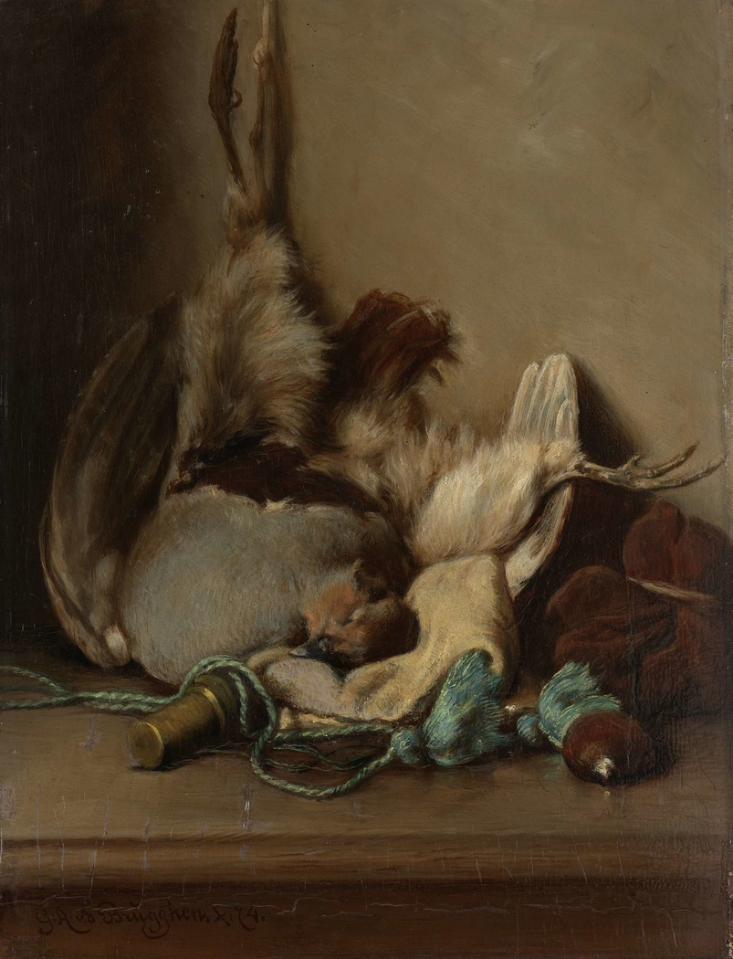Still life with Wood Pigeon and Powder Horn