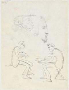Studie van twee zittende mannen en twee mannenkoppen