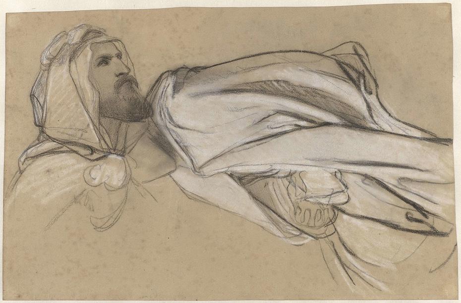 Studies voor de Prediking van Johannes de Doper in de woestijn: mannenkop en draperiestudie van een zittende figuur