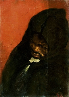 Study of a man in a hood.