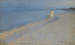 Summer evening at the South beach, Skagen. Anna Ancher and Marie Krøyer