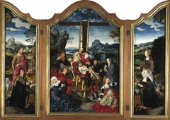 Triptych. Centre: the Deposition from the Cross; Left wing: St John the Baptist with a Donor; Right wing: St Margaret of Antioch with a Donatrix