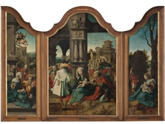 Triptych with the Adoration of the Magi, the Adoration of the Shephards and the Rest on the Flight to Egypt