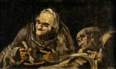Two Old Men Eating Soup