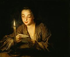 Jeune Fille lisant une lettre à la bougie de Jean-Baptiste Santerre