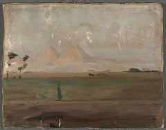 View of the pyramids. From the journey to Egypt