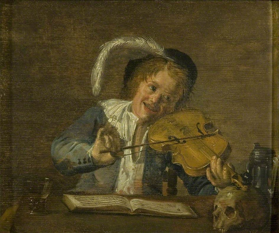 Violinist with a skull and a music book