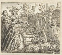 Vrouwen in een tuin