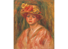 Woman in flower hat wearing a red blouse