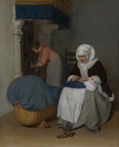 Woman Sewing beside a Cradle