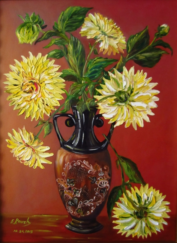 Yellow Dahlias in Tatar Vase