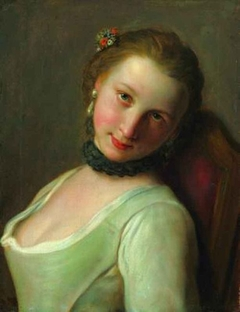 """Young Woman with Black Collar and Flowers in her Hair, Known as """"The Frivolous Girl"""""""
