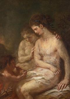 Zwei Nymphen mit Amor