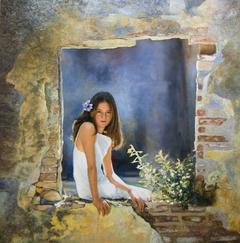 «Η Θάλεια στο Μον Ρεπό», 80 x 80 cm,oil on wood.