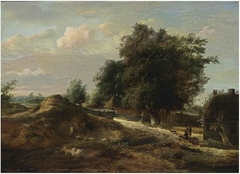 A dune landscape with a shepherd and his sheep on a path and travellers with a dog resting near a farm
