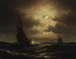 A Dutch fishing boat in the North Sea in Moonlight