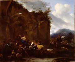 A Farrier and Peasants near Roman Ruins