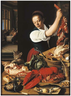A kitchen interior with a maid preparing meat and gentlemen drinking at a table beyond