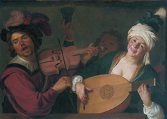 A merry group behind a balustrade with a violin and a lute player