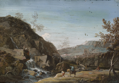 A Rocky Landscape with a Waterfall