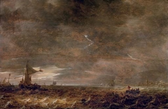 A stormy landscape with a lightning bolt over the Haarlemer Meer