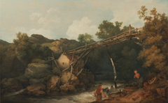 A View near Matlock, Derbyshire with Figures Working beneath a Wooden Conveyor