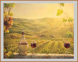 A vineyard at sunset
