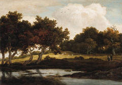 A Wooded Landscape with Travellers on a Track by a Pool