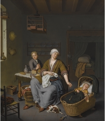 A young mother with two children in an interior