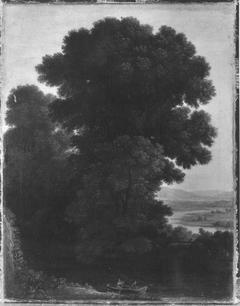 Abendlandschaft mit dichter Baumgruppe (Kopie nach)