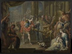 Alexander der Große zerhaut den gordischen Knoten