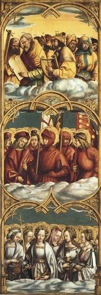Allerheiligenaltar, rechter Flügel: Gestalten der Lauretanischen Litanei Rückseite: Auferstehung Christi, hll. Johannes und Paulus