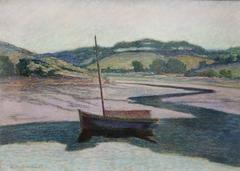 Barque sur l'Aven à marée basse