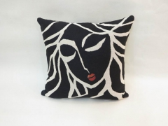 Bed Head - Black and white custom throw pillow cushion - Modern Abstract Pop Art by Fidostudio