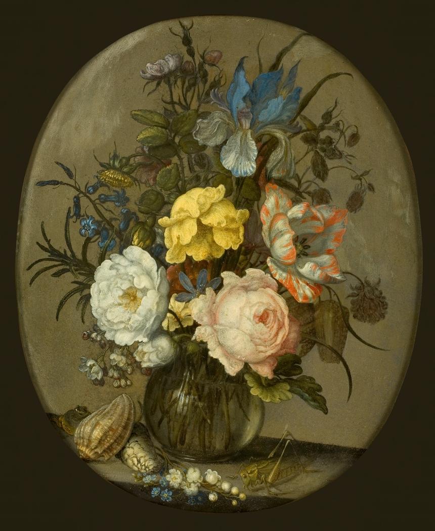 Bloemen in een glazen vaasje