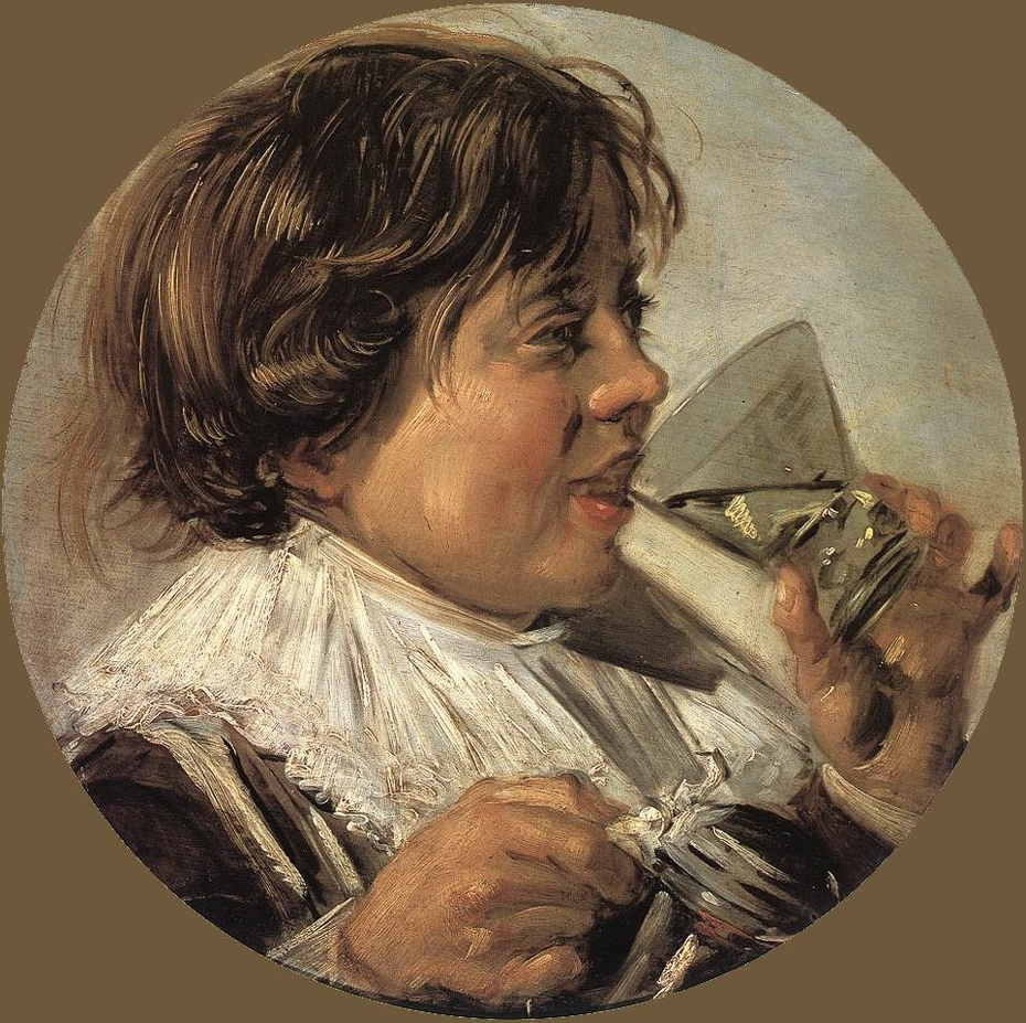 Boy with a glass and a tin can