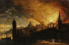 Burning city with Lot and the angel and his daughters