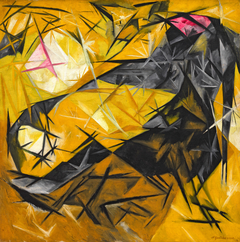 Cats (rayist percep.[tion] in rose, black, and yellow)
