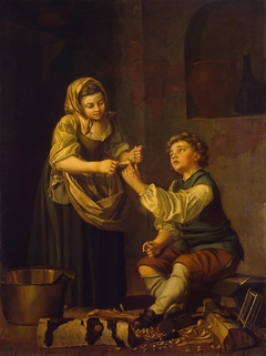 Children Bandaging a Finger