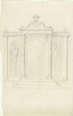 Classicistische poort met zuilen en standbeelden